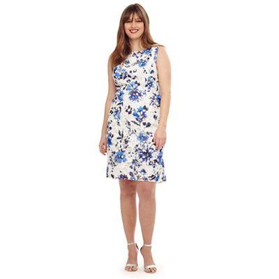 ed84a897cb363 Studio 8 Size 14-26 Blue rochelle printed lace dress   Debenhams