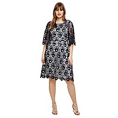 Studio 8 - Sizes 14 to 26 Navy and Ivory tilly lace dress
