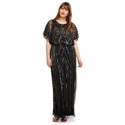 85a1d6b16e8a3 Studio 8 - Size 14- 26 Navy hermione beaded maxi dress