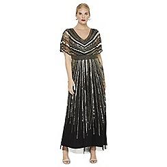 Studio 8 - Sizes 14-26 black and gold avalon beaded maxi dress