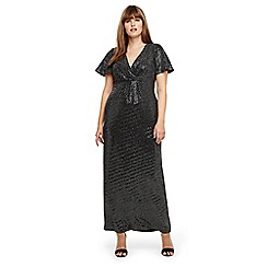 Studio 8 - Sizes 14-26 Silver galaxy sparkle maxi dress