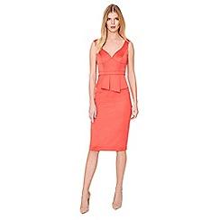 Damsel in a dress - Orange sienna satin peplum dress