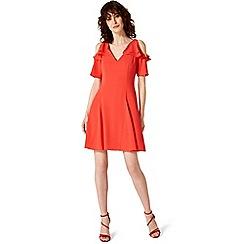 Damsel in a dress - Red juna ruffle cold shoulder dress