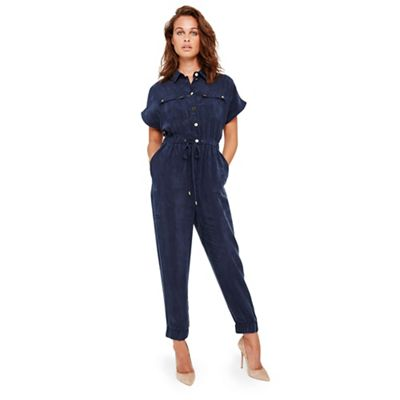 Damsel In A Dress   Navy Monica Cupro Jumpsuit by Damsel In A Dress