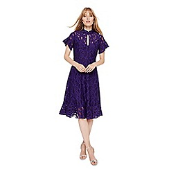 Damsel in a dress - Bright Purple lulu lace fluted hem dress