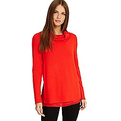 Phase Eight - Flame Winnifred woven hem cowl neck top