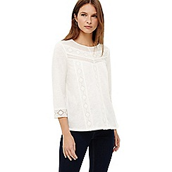 Phase Eight - Cream elsie embroidered placket top