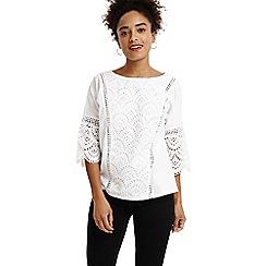 Phase Eight - White celeste crochet front top