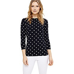 Phase Eight - Navy and Ivory stella spot print top