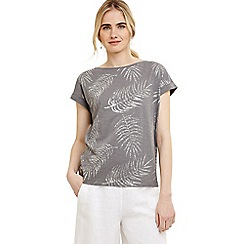 Phase Eight - Grey fanya cotton leaf foil print top