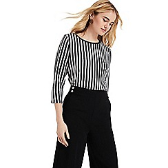 Phase Eight - Black and Ivory Jena Double Faced Stripe Top