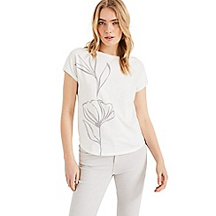 Phase Eight - White Lauralee Flocked T-Shirt