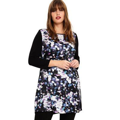 54510_330115880: Sizes 14-26 Black Multi dahlia printed tunic