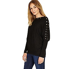 Phase Eight - Charcoal marl Esther eyelet batwing jumper