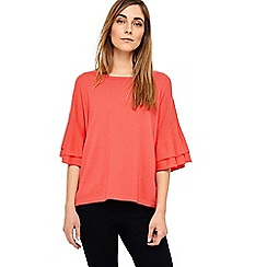 Phase Eight - Pink daisi double frill sleeve knit top