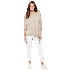Phase Eight - Natural linen abaranne asymmetric knit jumper