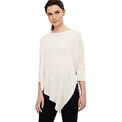Phase Eight - Cream patricia pearl asymmetric knit jumper