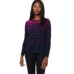 Phase Eight - Navy and Magenta terza stripe swing knit jumper