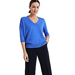 Phase Eight - Blue Estel ellipse hem V-neck knit top