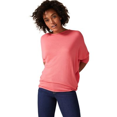 54510_403083097: Lobster Pink Becca Batwing Knitted Jumper