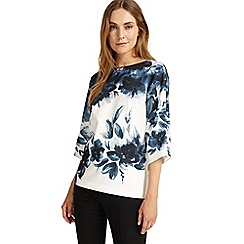 Phase Eight - Ink and ivory winter garden floral blouse