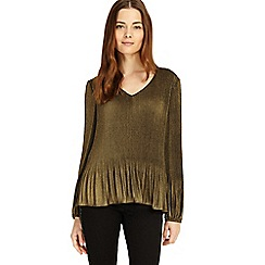 Phase Eight - Gold Ella foil pleated blouse