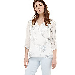 Phase Eight - Cream finn floral ruffle blouse