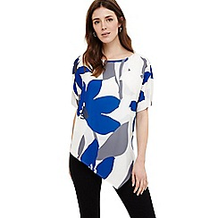 Phase Eight - Blue lana asymmetric floral blouse