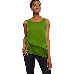 Phase Eight - Green kit silk tiered blouse
