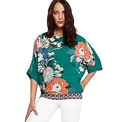 Phase Eight - Green pui oriental print blouse