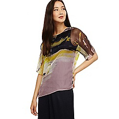 Phase Eight - Yellow uma abstract print silk blouse