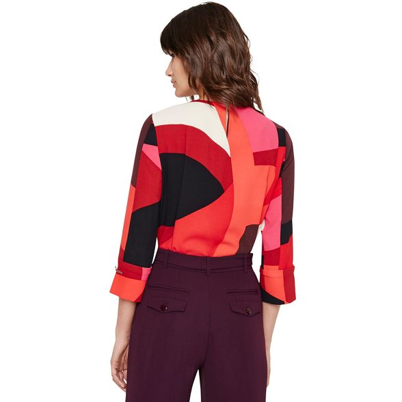 xanthe print and Eight blouse Phase Red pink abstract 4v1Z8qvpxw