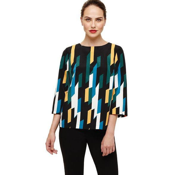 Phase print geo Eight sage blouse Black zzS7qa