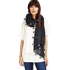 Phase Eight - Navy and Grey pompom tassel scarf