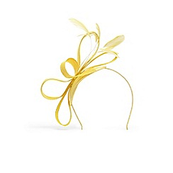 Phase Eight - Yellow anna feather and bow fascinator