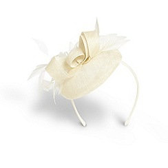 Phase Eight - Cream dita feather and bow pillbox fascinator