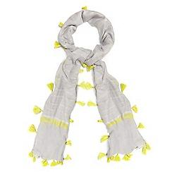 Phase Eight - Grey brooke striped pom pom scarf