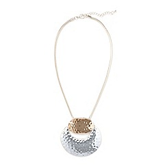 Phase Eight - Metallic pippa hammered circle short pendant necklace