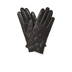 Phase Eight - Black stevie leather pintuck gloves