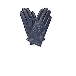 Phase Eight - Navy stevie leather pintuck gloves