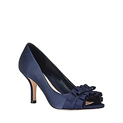 Phase Eight - Navy Fiona Satin Peep Toe Shoes