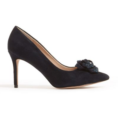 Phase Eight - Blue sasha suede sparkle rose court shoes