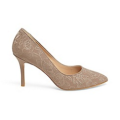 Phase Eight - Brown ceri embroidered lace point court shoes