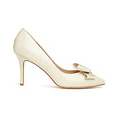 Phase Eight - Cream ariel metallic bow pointed court shoes