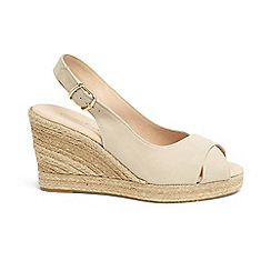 Phase Eight - Natural lana leather peep toe espadrille wedge shoes