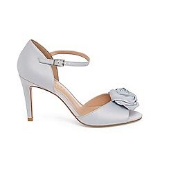 Phase Eight - Blue louisa satin rose peep toe sandals