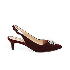 Phase Eight - Red juliet jewel slingback kitten heels sandals