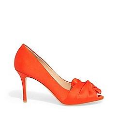 Phase Eight - Orange Alice satin bow peep toe shoes