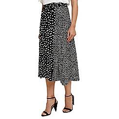 Phase Eight - Black 'Sallie' mixed spot skirt