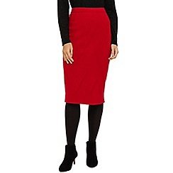 Phase Eight - Red georgina grid stitch knitted skirt